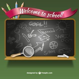 Welcome to school blackboard vector