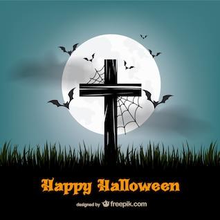 Happy Halloween vector with cross