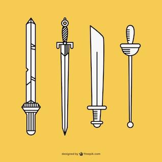 Hand drawn swords vector