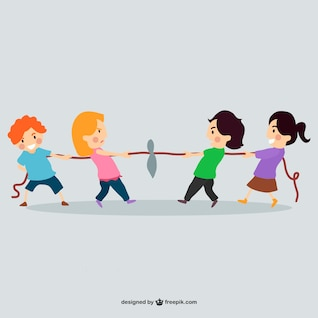 Children playing with rope