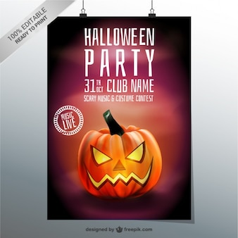 Halloween party poster template with pumpkin