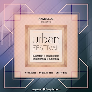 Urban party vector mock-up poster