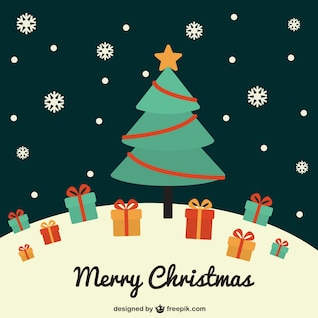 Vintage Christmas tree vector