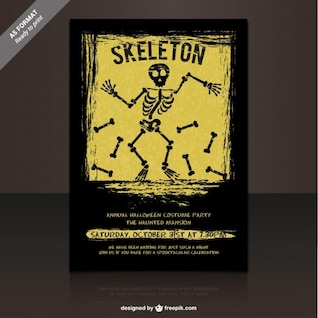 Skeleton party flyer template