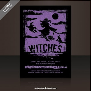 Witches party flyer template