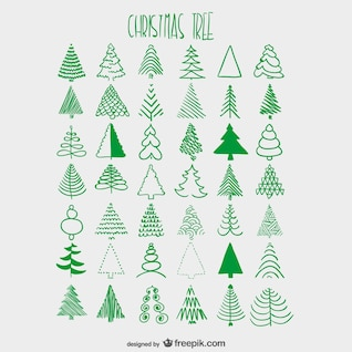 Christmas trees sketches collection