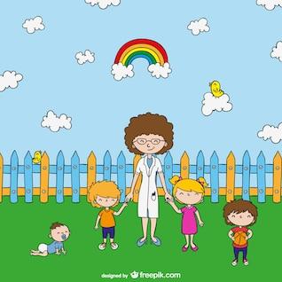 Teacher with kids cartoon