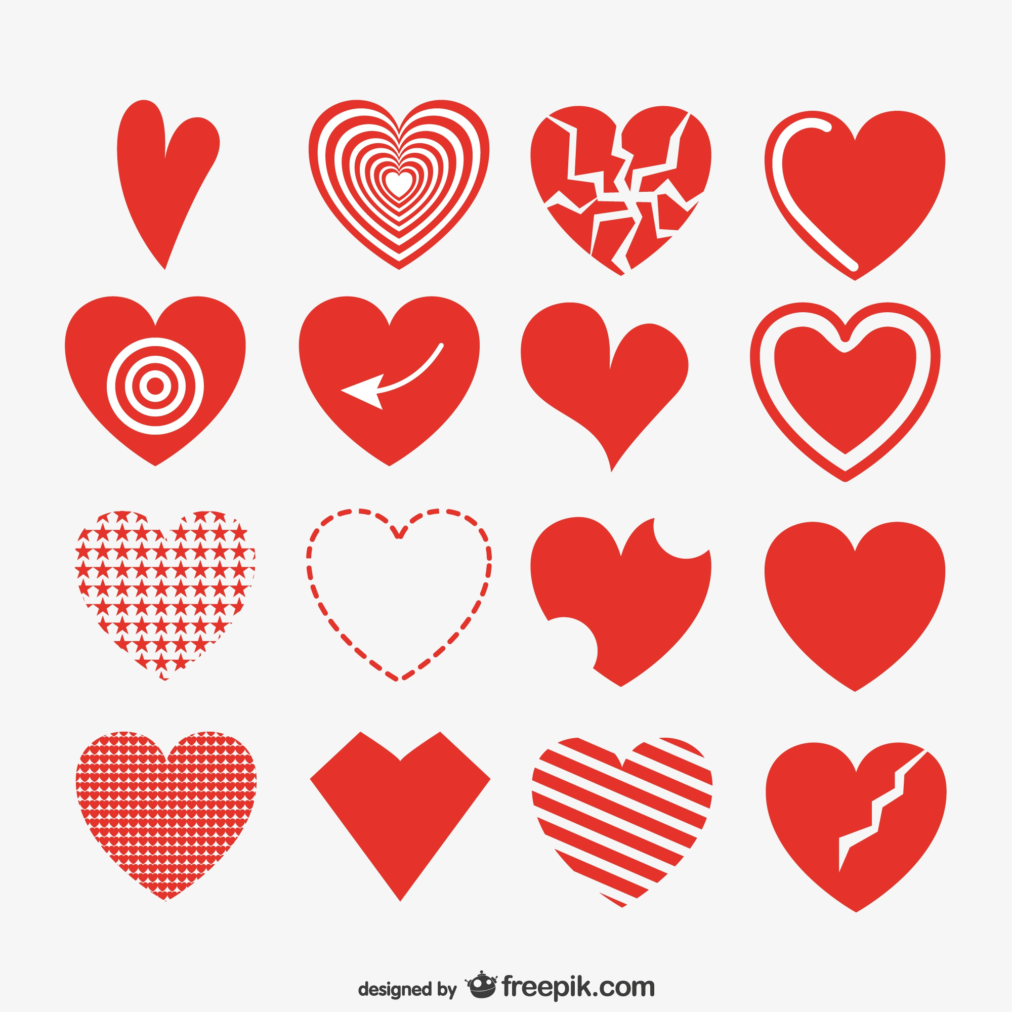 Red artistic hearts collection
