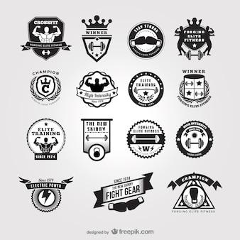 Black and white gym badges
