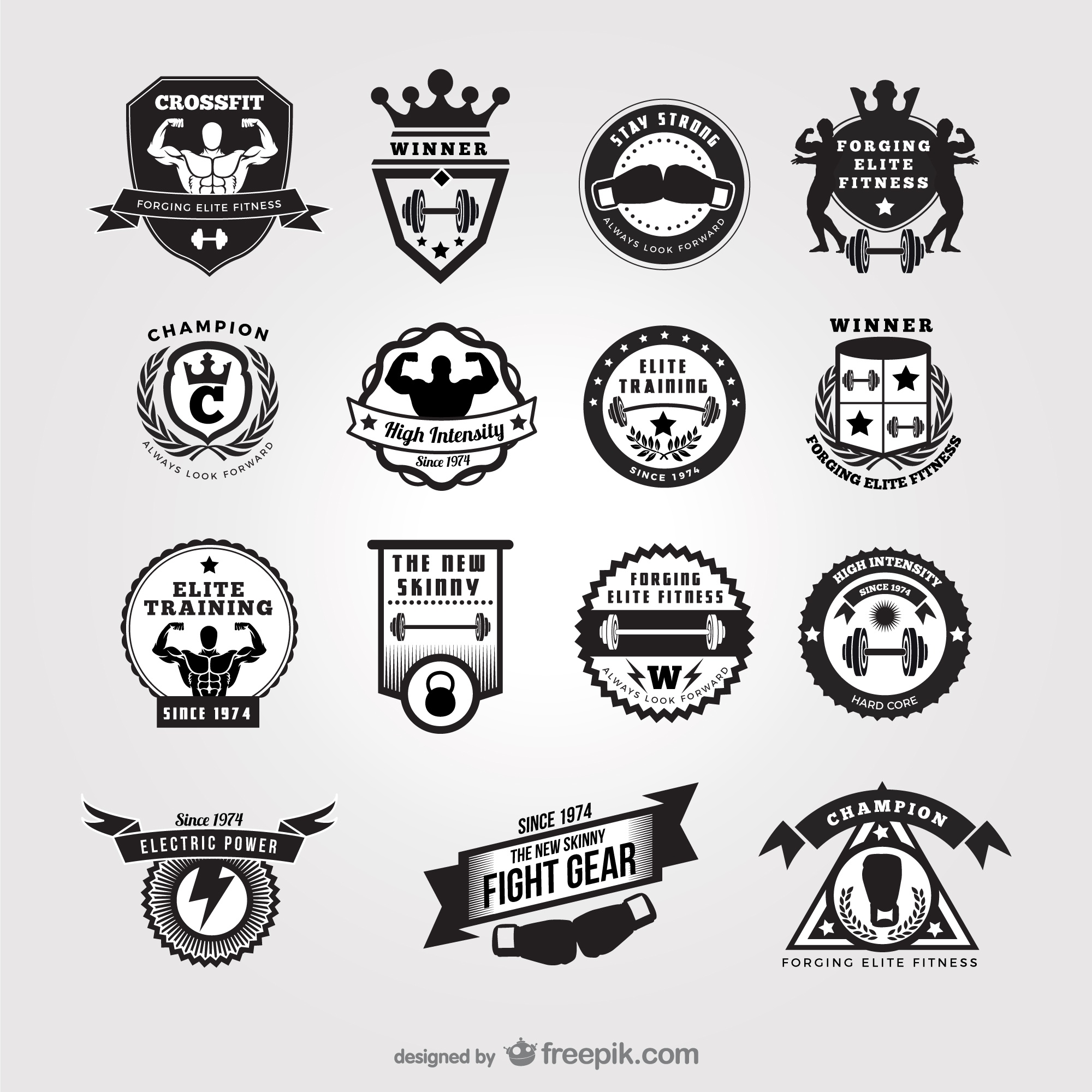 Black and white gym badges