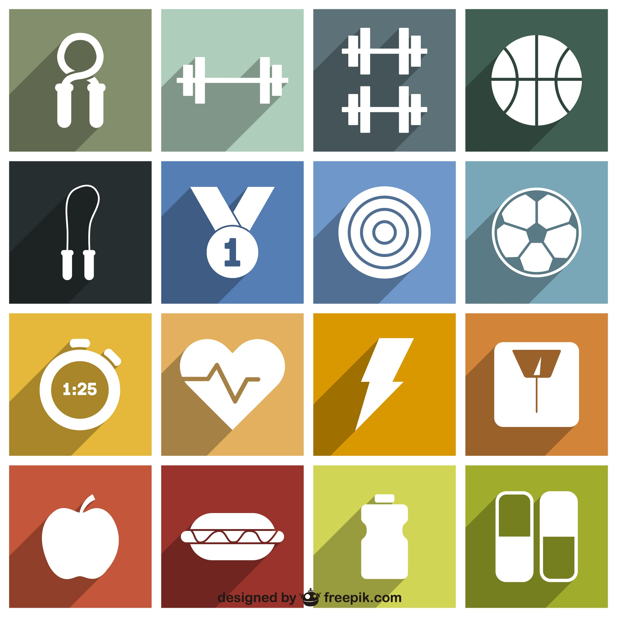 Sport and fitness icons pack