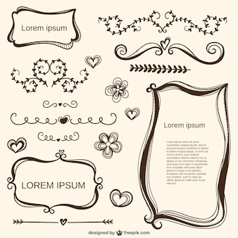 Calligraphic love ornaments and frames