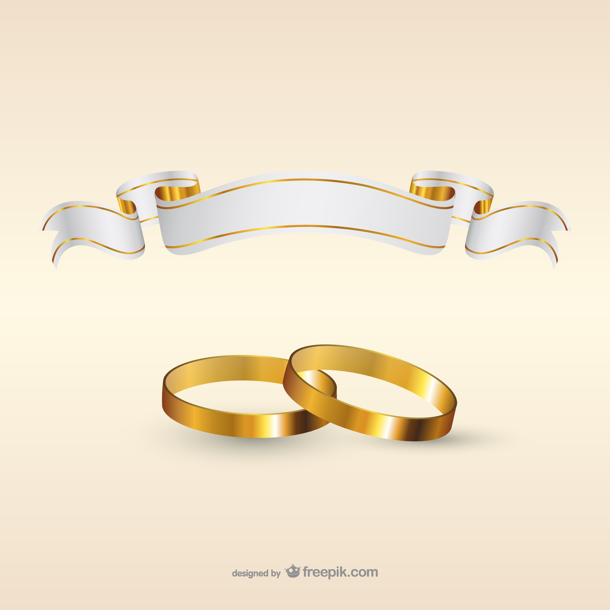 Wedding rings and ribbon banner template