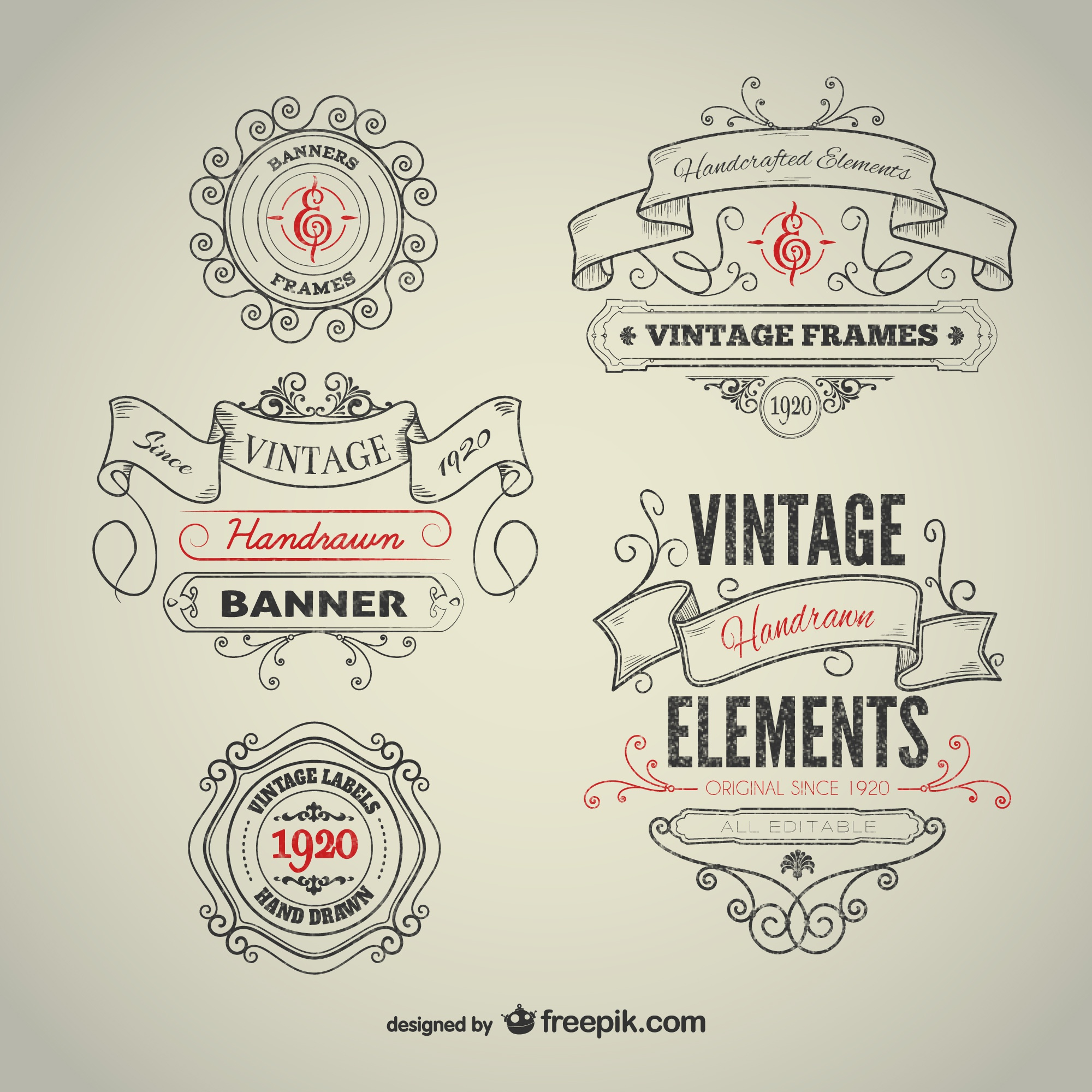 Vintage hand-drawn elements