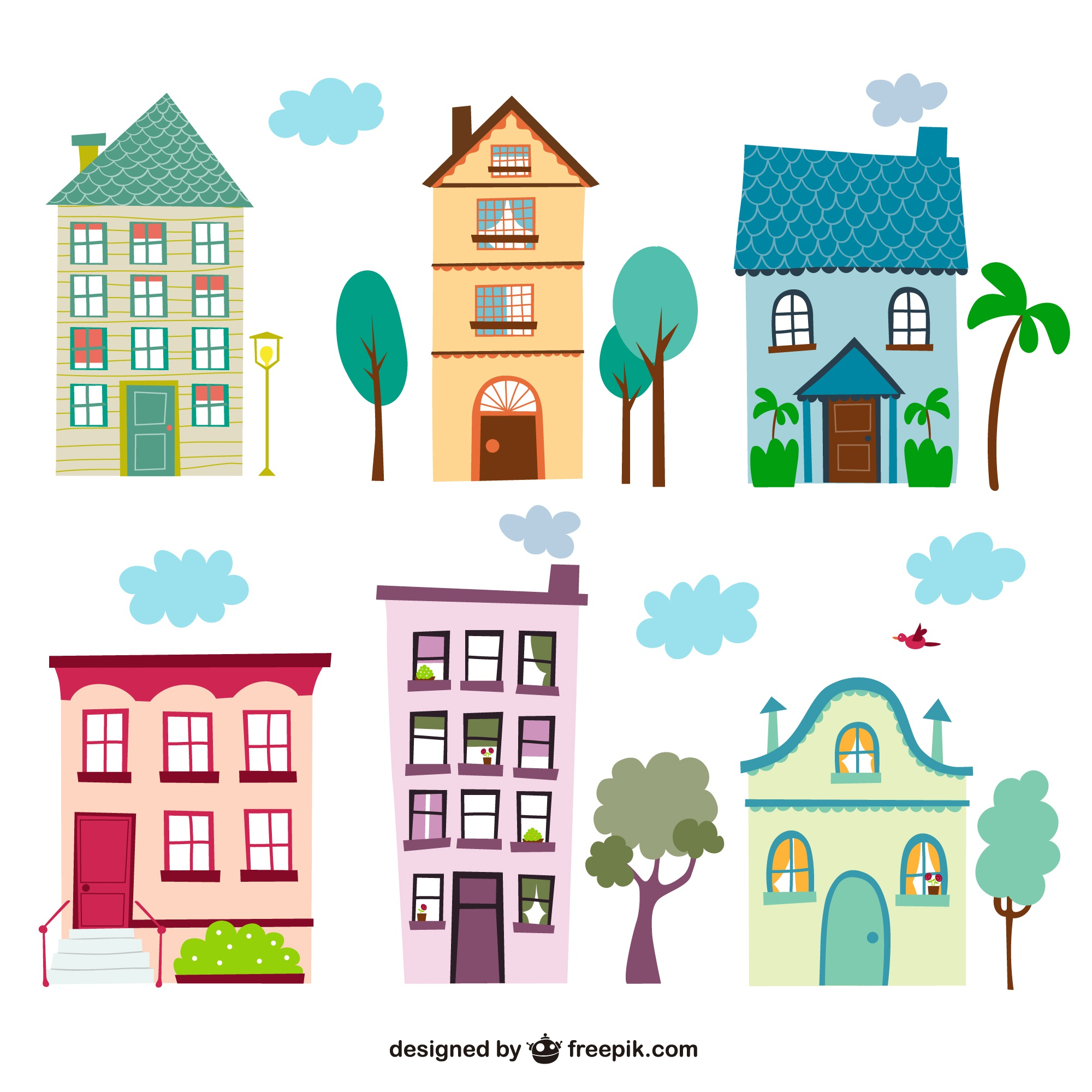 Colorful vintage houses