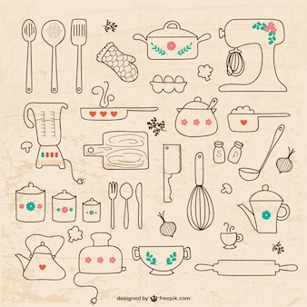 Kitchen utensils drawings