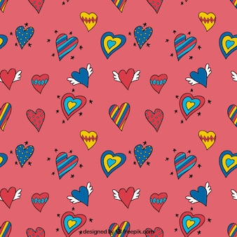 Heart doodles pattern