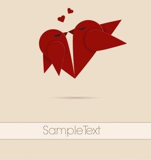 Kissing Love Origami Birds