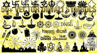 Vector Diwali symbols