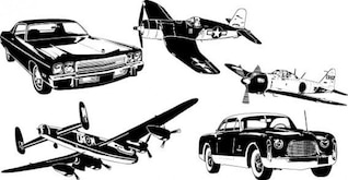 Cars and airplane free vector