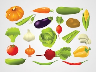 Fresh Vegetables, Foods Vector