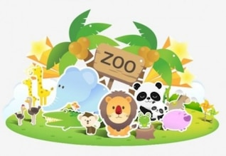 Cute cartoon zoo with colorful animals
