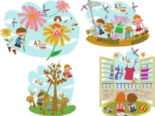Colorful autumn tale with childrens