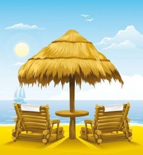 Sunny Summer  wood chair vector