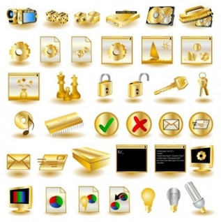Gold computer icons vector