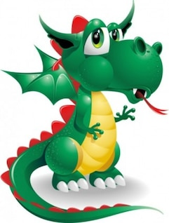 Cute cartoon dragon vector