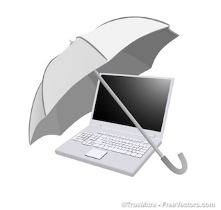 Umbrella on computer