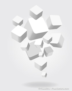 3d white squares