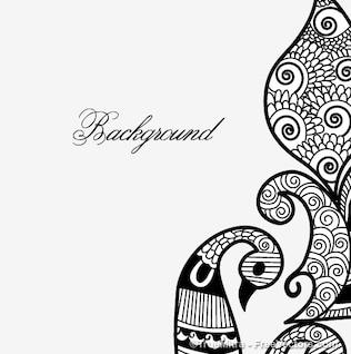 Henna design pigeon white backgraund