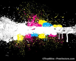Colorful paint splashes dirty background