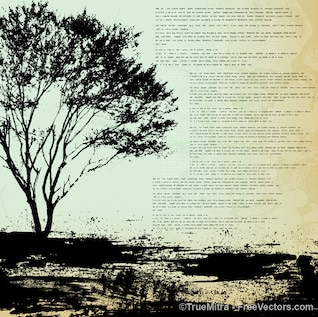 Urban tree grunge backgrounds vector set