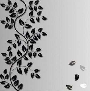 Curved leafy vine abstract background