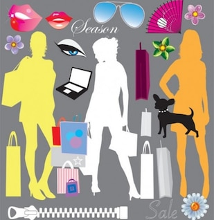 Fashion silhouettes and shopping elements