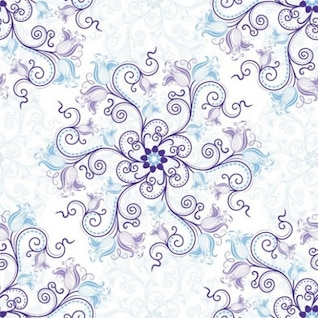 Scrolling dainty floral with blue flowers