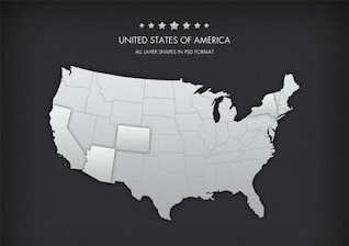 USA States map vector elements