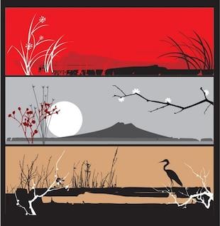 Asian landscapes, floral vector banners set
