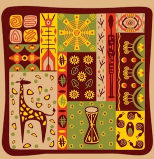 African background hieroglyph style vector