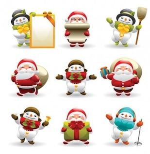 santa and snowman vector icons