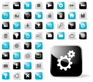 Attractive glossy web icons vector set