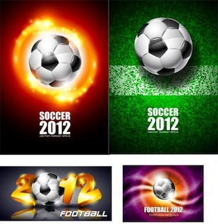 soccer ball with four different backgrounds