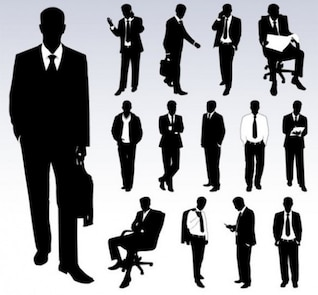 Set of businessmen vector silhouettes