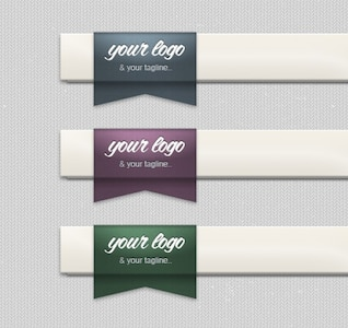 Tucked Ribbon for Header Logo Placement