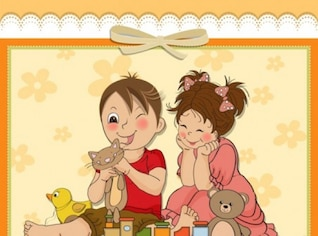 Cute cartoon style card design background vector set