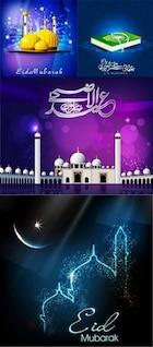 Islamic architecture realistic vector background