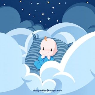 Baby angel with cloud and blue stripes