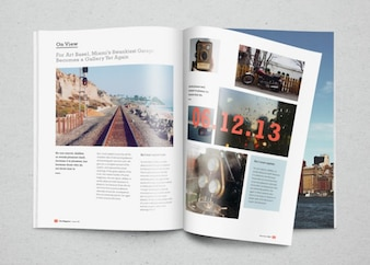 Magazine mockup with photos